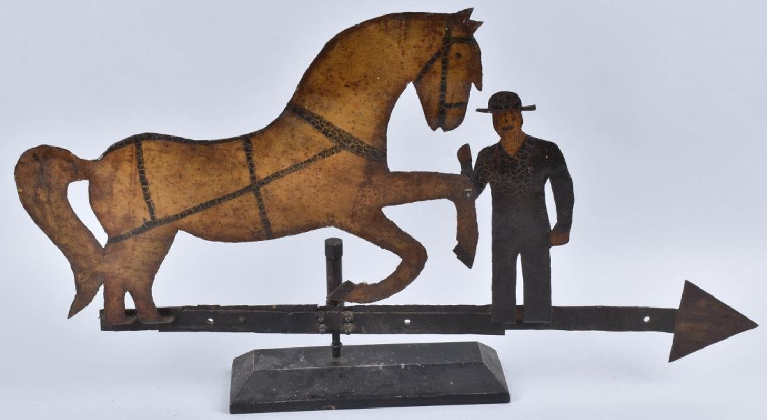 EARLY FOLK ART HORSE & FARMER WEATHER VANE