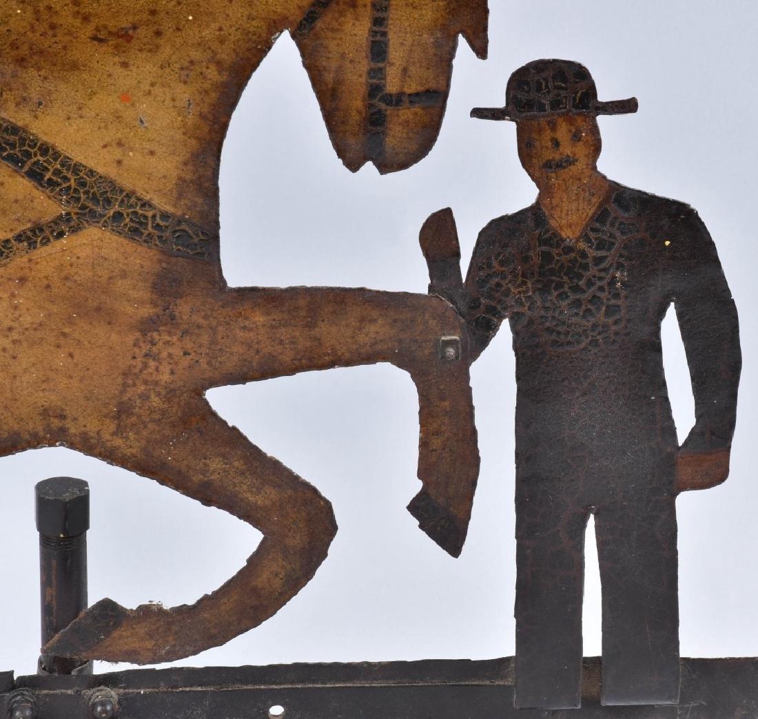 EARLY FOLK ART HORSE & FARMER WEATHER VANE - 2