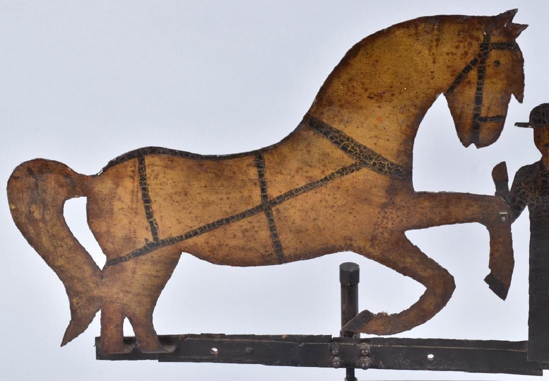 EARLY FOLK ART HORSE & FARMER WEATHER VANE - 3