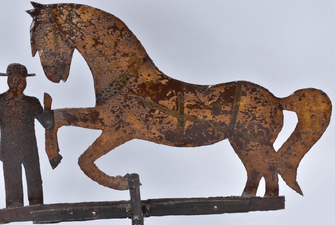 EARLY FOLK ART HORSE & FARMER WEATHER VANE - 6