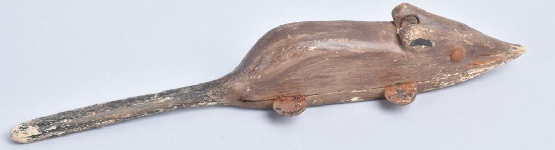 ANTIQUE WOODEN MOUSE FISH DECOY - 3