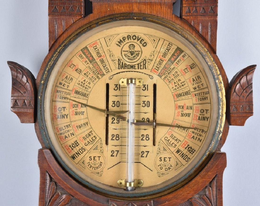 1800s TORICELLI IMPROVED WALL BAROMETER - 5