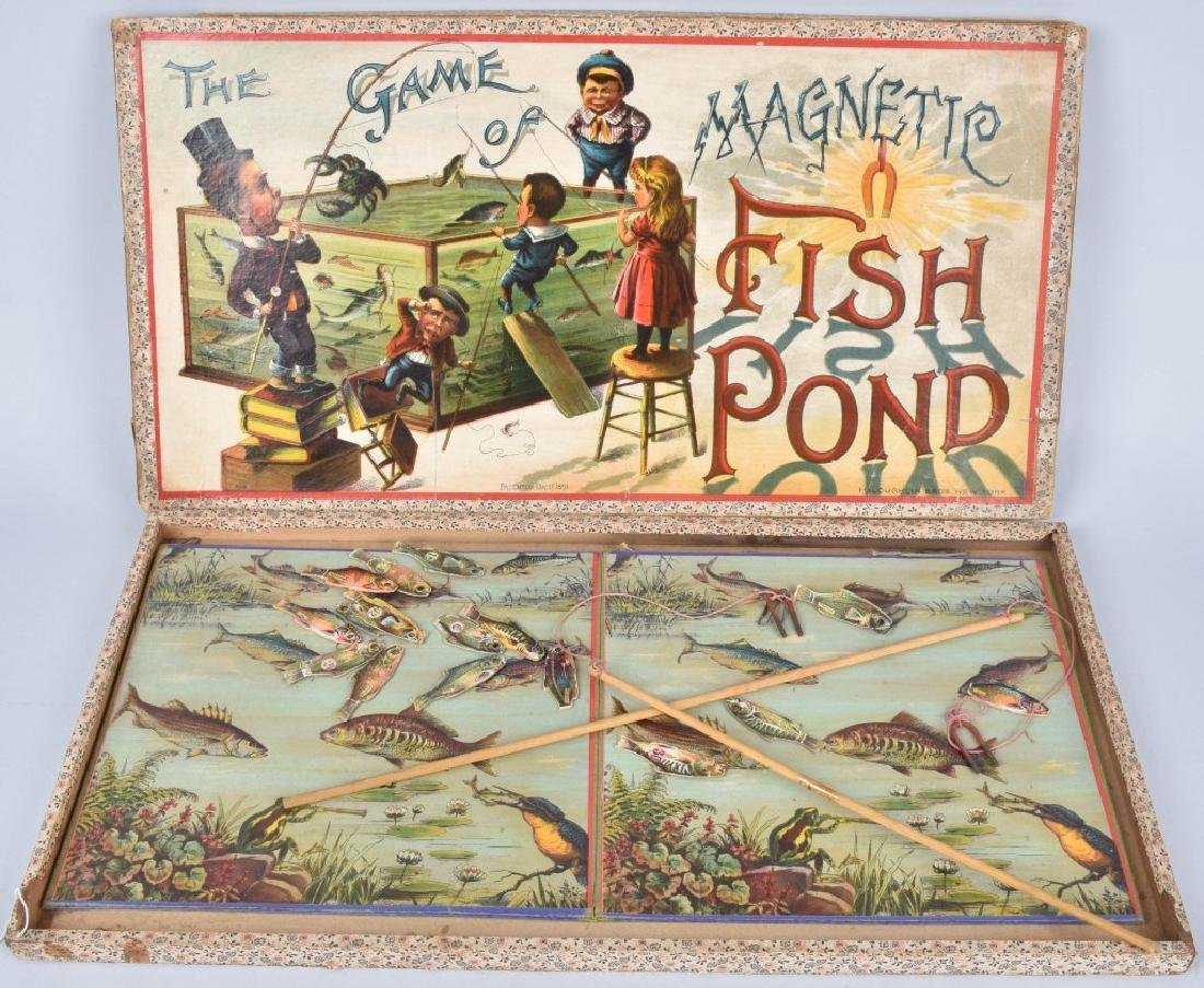 1891 MCLOUGHLIN BROS. MAGNETIC FISH POND GAME