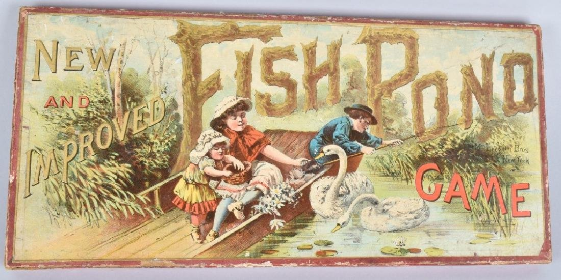 1890s McLOUGHLIN BROS NEW IMPROVED FISH POND GAME - 2