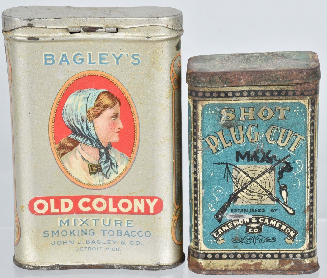 OLD COLONY & SHOT PLUG CUT TOBACCO TINS