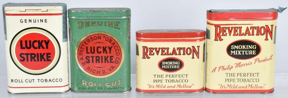 2 REVELATION & LUCKEY STRIKE POCKET TOBACCO TINS