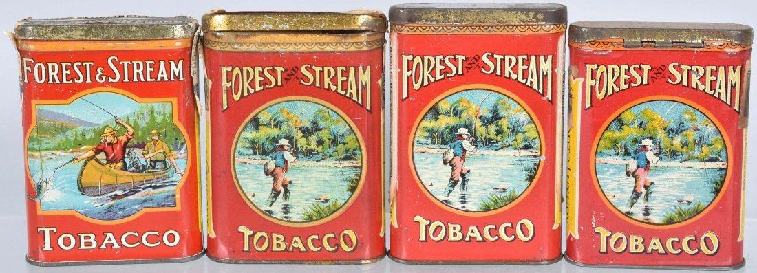4- FOREST & STREAM POCKET TOBACCO TINS