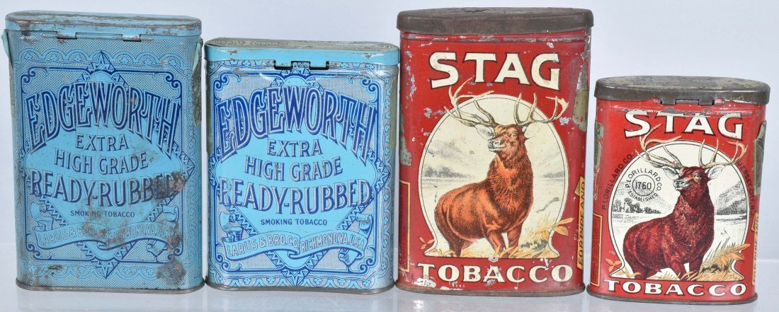 2 STAG & 2 EDGEWORTH POCKET TOBACCO TINS