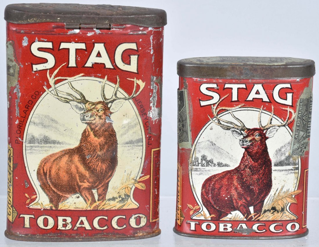 2 STAG & 2 EDGEWORTH POCKET TOBACCO TINS - 2