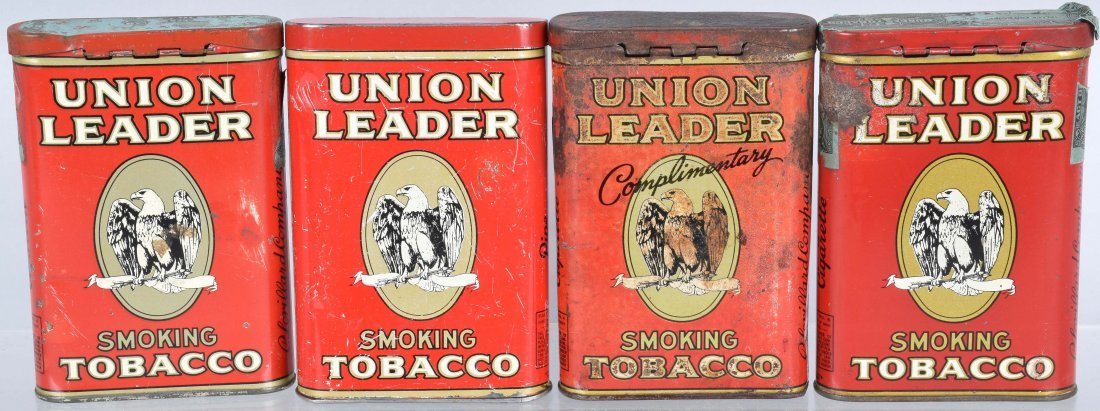 4- UNION LEADER POCKET TOBACCO TINS