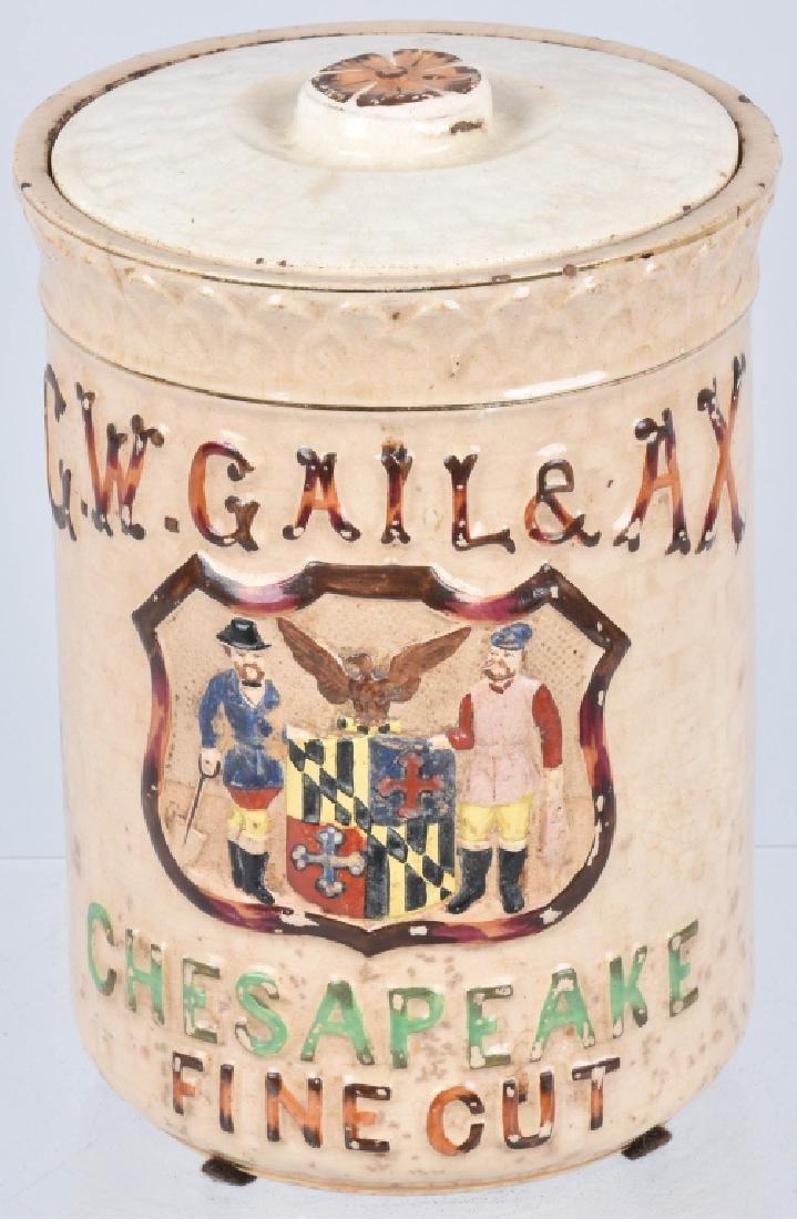 GW GAIL & AX CHESAPEAKE TOBACCO POTTERY JAR