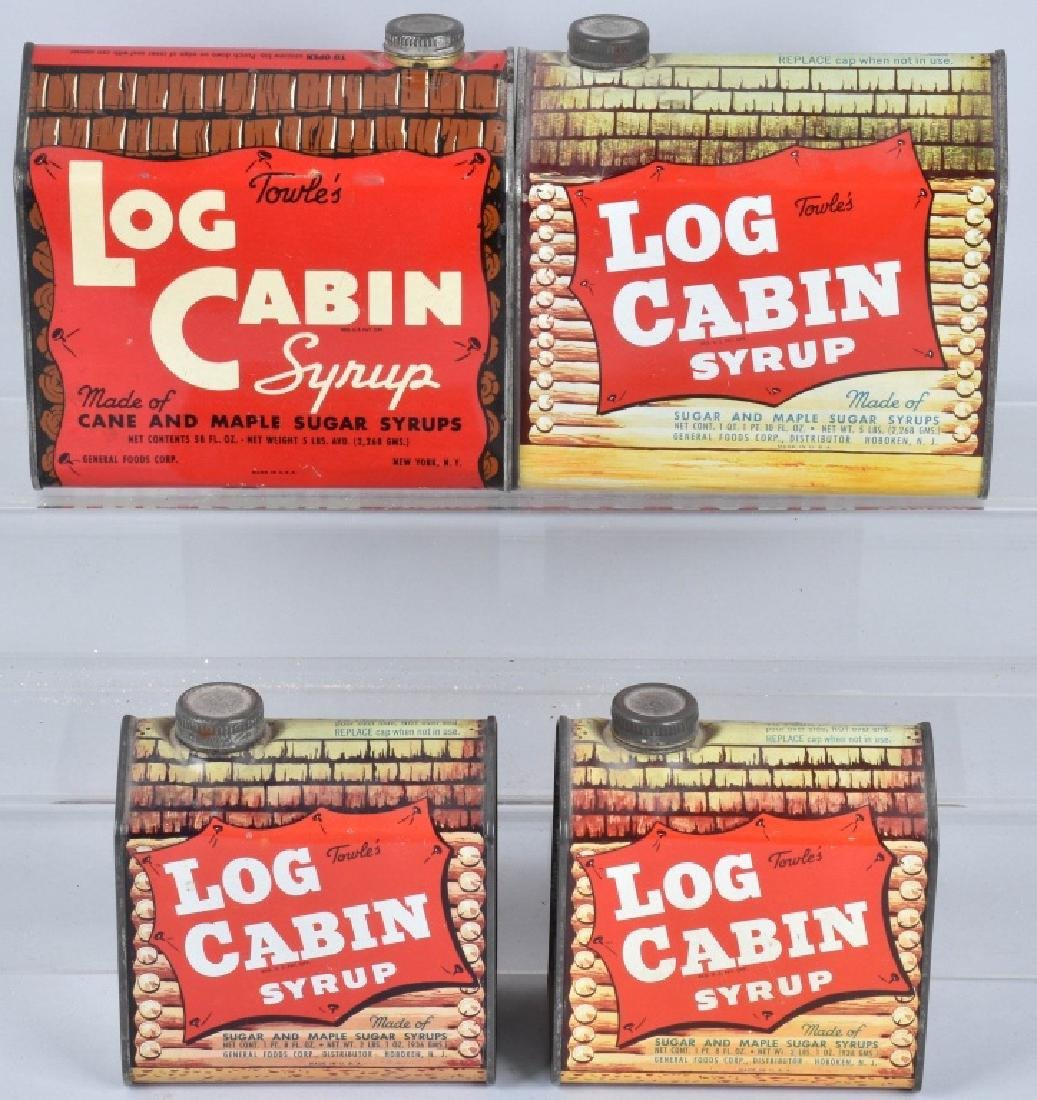 4- TOWLE'S LOG CABIN SYRUP TINS