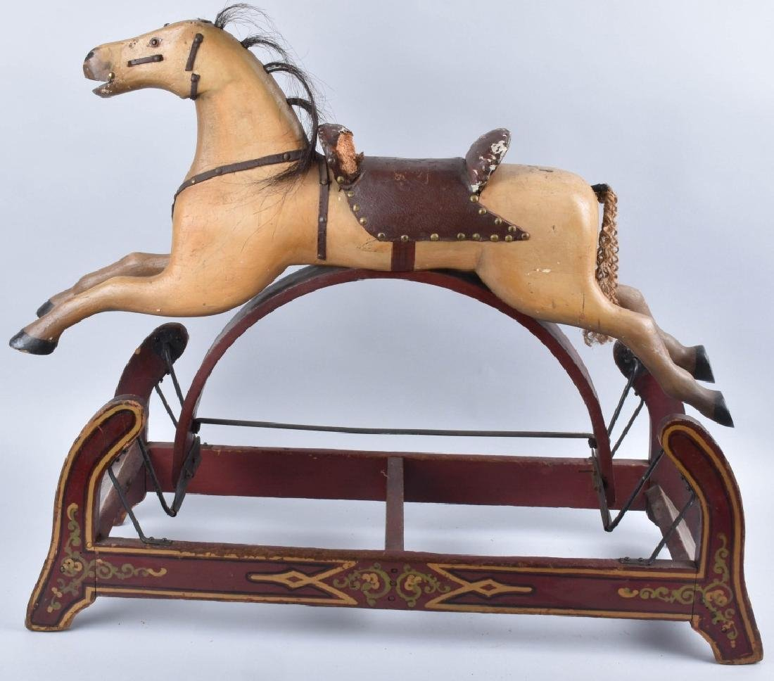 CONVERSE WOOD CARVED RIDE ON HORSE ON ROCKER - 6