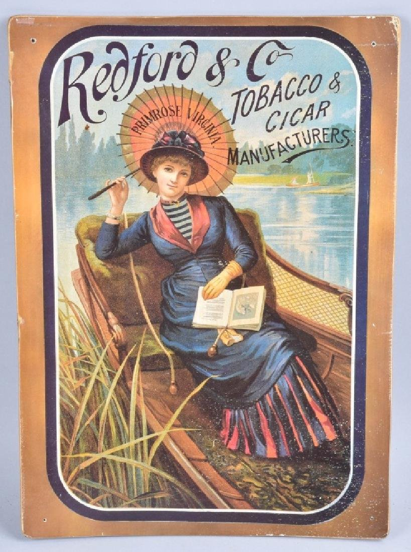 REDFORD & CO TOBACCO ADVERTISING POSTER ON WOOD