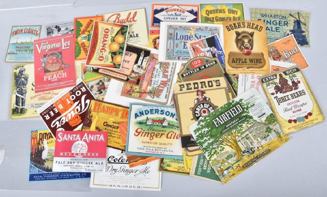 LARGE LOT of COLOR BEVERAGE LABELS, VINTAGE