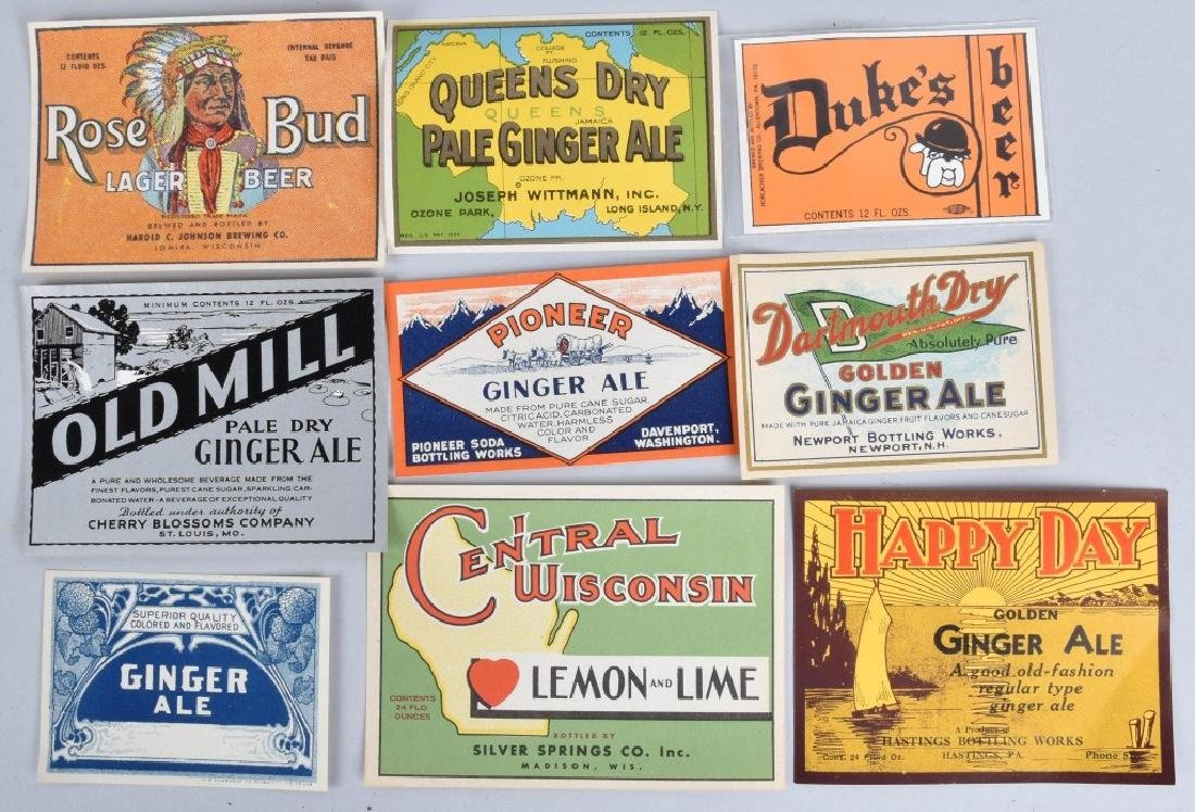 LARGE LOT of COLOR BEVERAGE LABELS, VINTAGE - 3