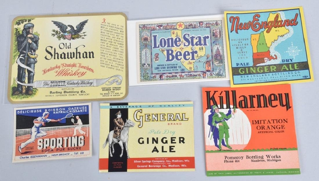 LARGE LOT of COLOR BEVERAGE LABELS, VINTAGE - 5
