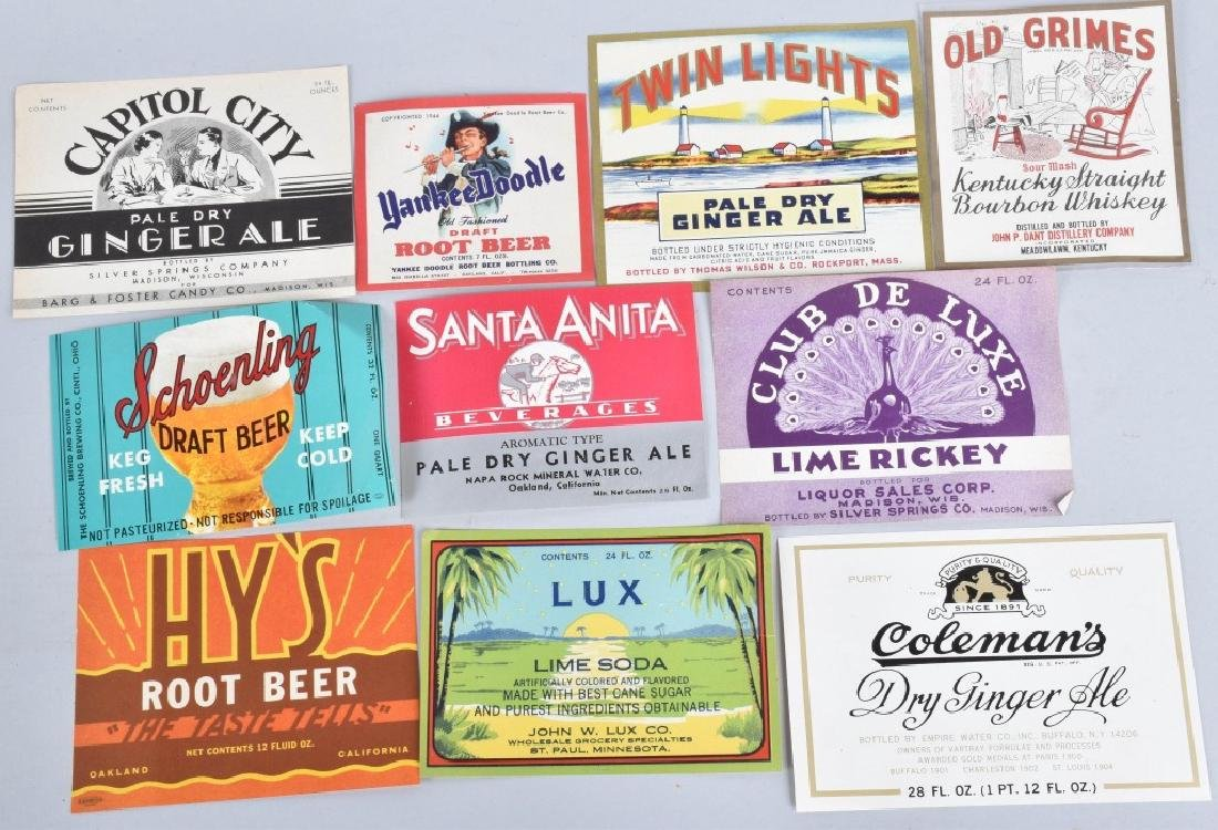 LARGE LOT of COLOR BEVERAGE LABELS, VINTAGE - 6