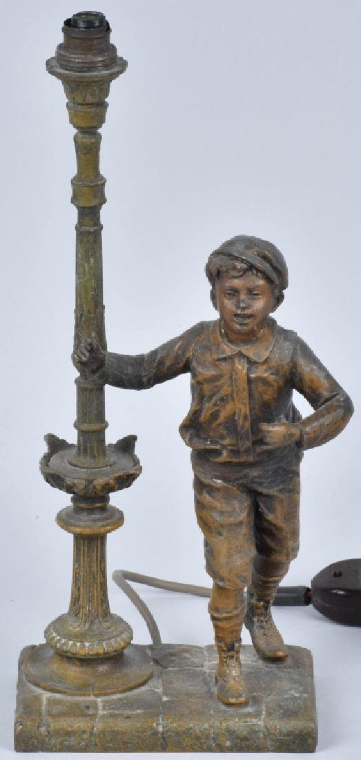 FIGURAL CAST METAL LAMP, BOY and LAMP POST