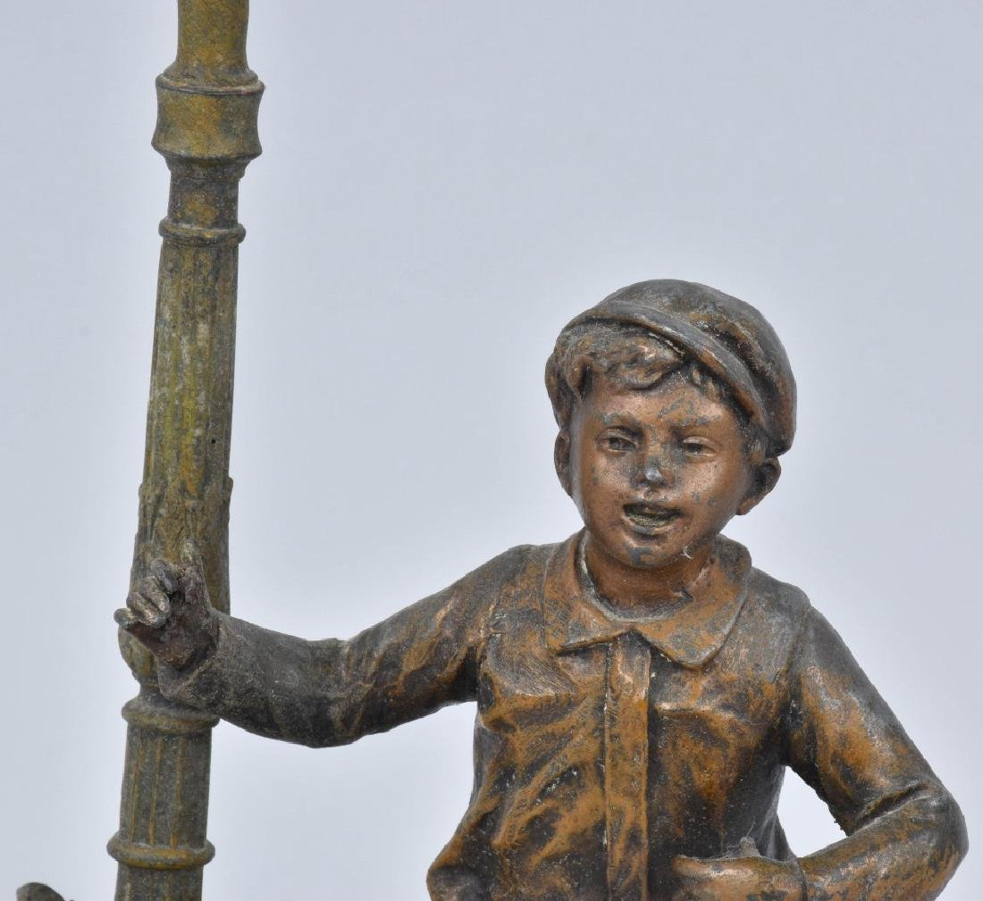 FIGURAL CAST METAL LAMP, BOY and LAMP POST - 2