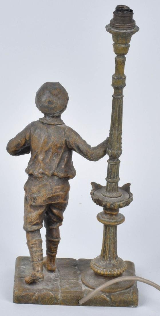 FIGURAL CAST METAL LAMP, BOY and LAMP POST - 3