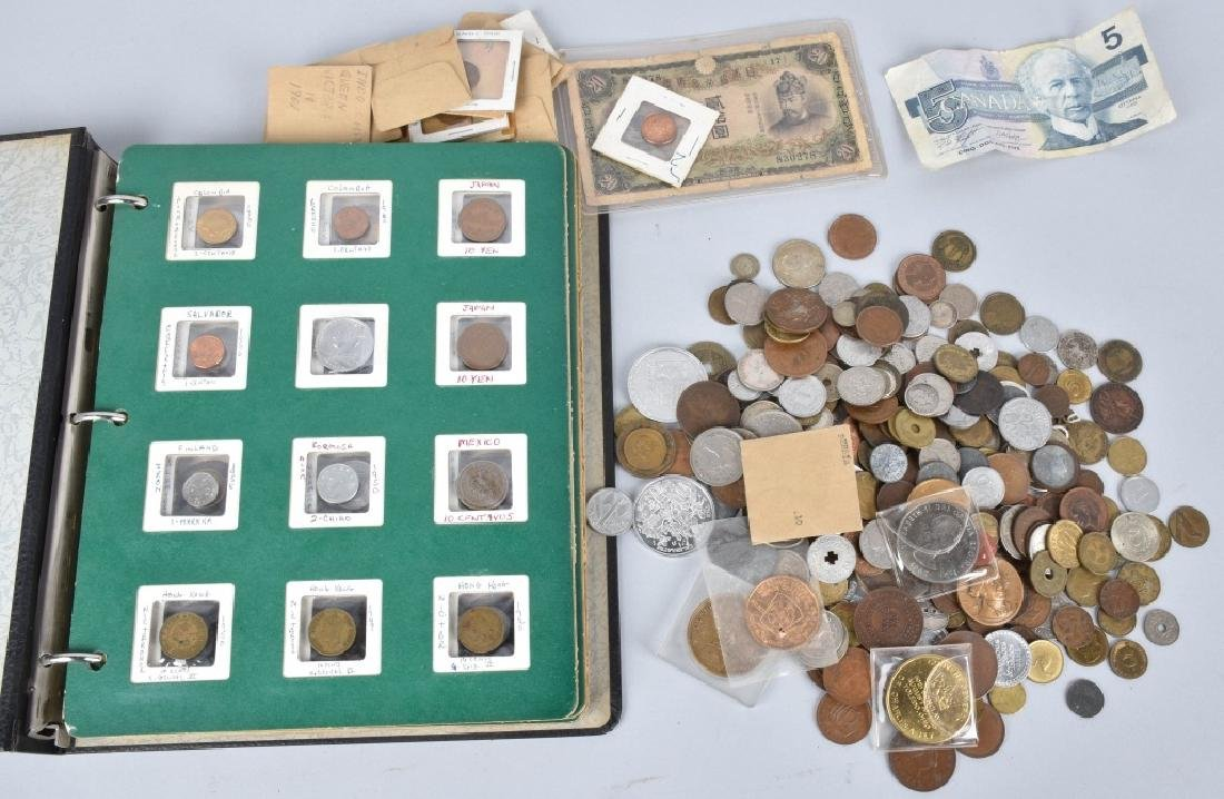 HUGE LOT of VINTAGE INTERNATIONAL COINS and MORE