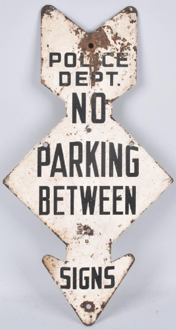 POLICE DEPARTMENT DIECUT NO PARKING SIGN, VINTAGE