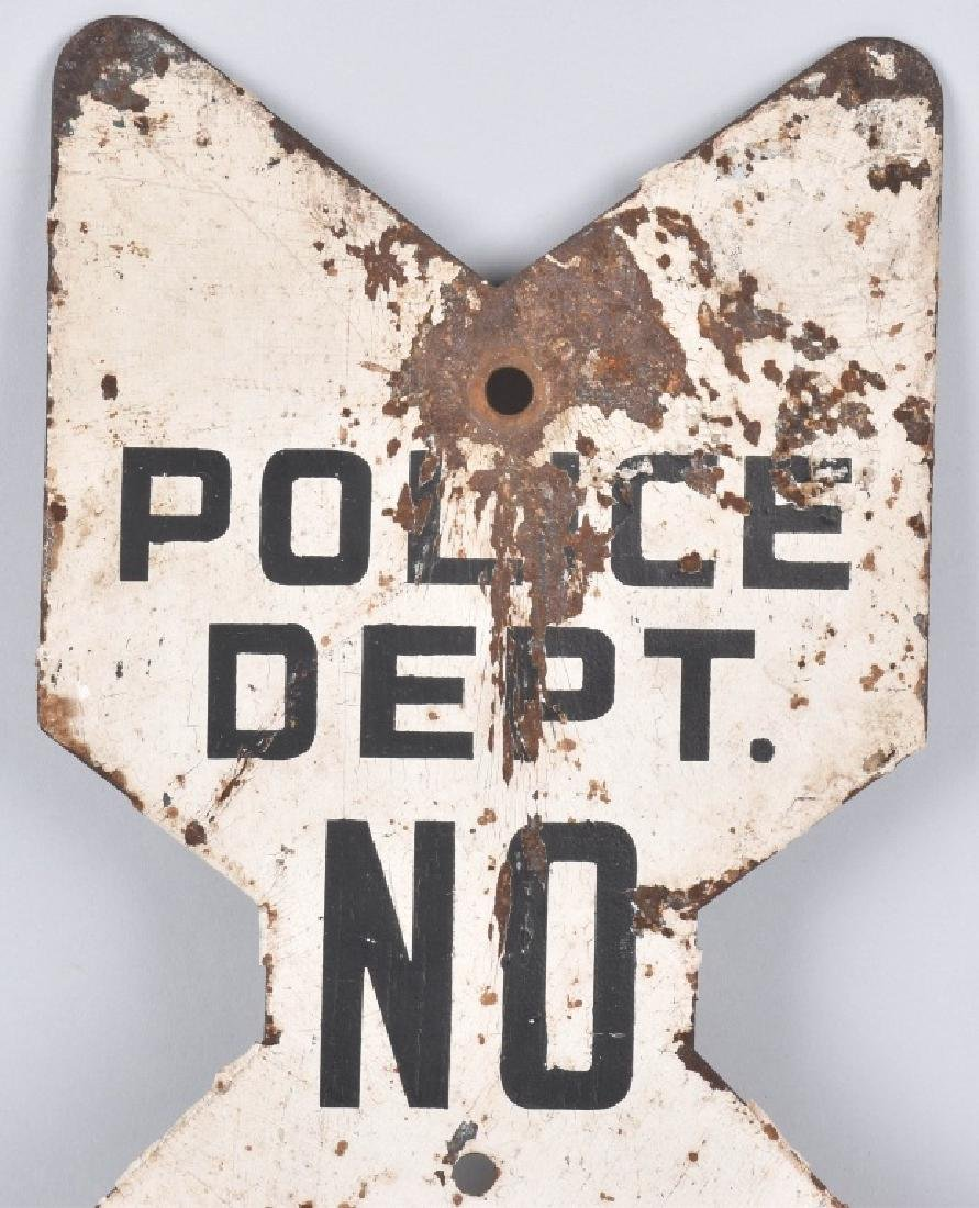 POLICE DEPARTMENT DIECUT NO PARKING SIGN, VINTAGE - 2