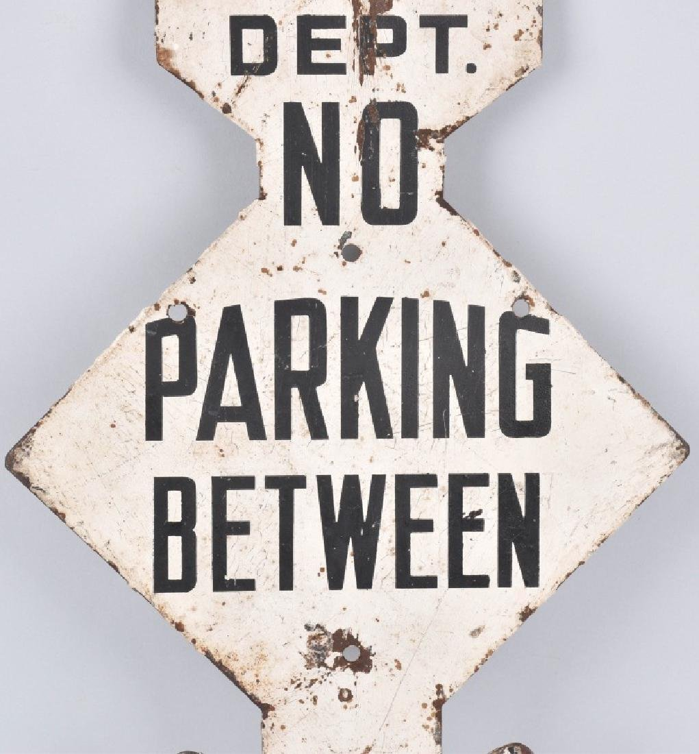 POLICE DEPARTMENT DIECUT NO PARKING SIGN, VINTAGE - 3