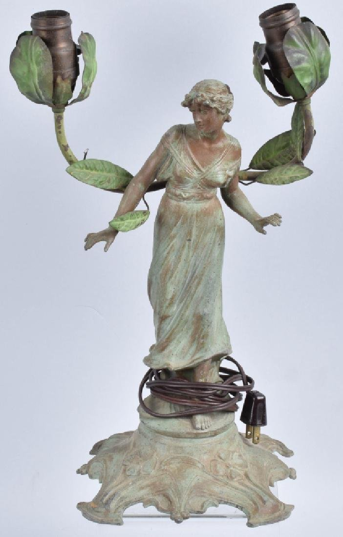 FRENCH FIGURAL LADY SPELTER LAMP
