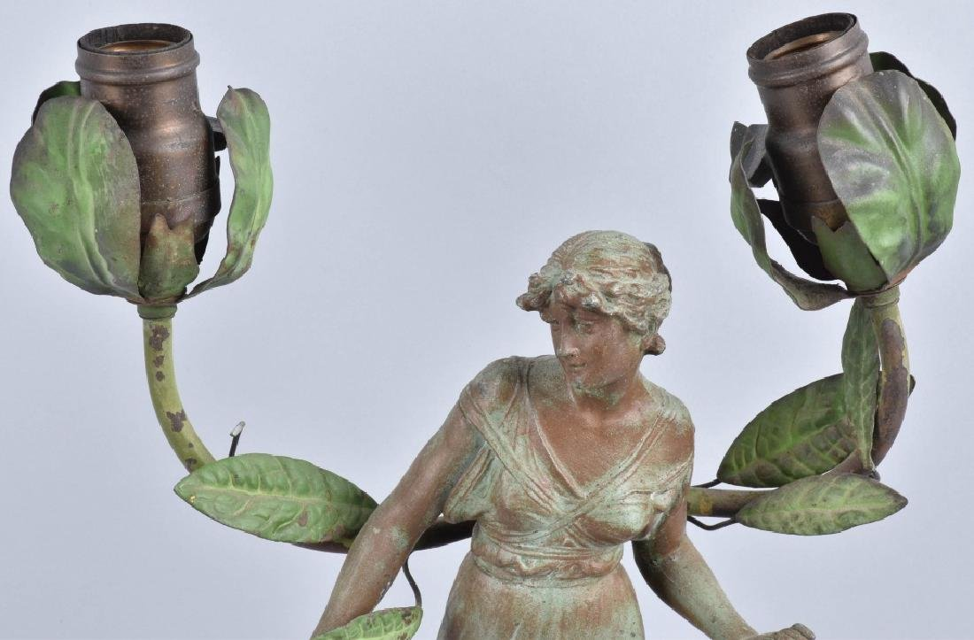 FRENCH FIGURAL LADY SPELTER LAMP - 2