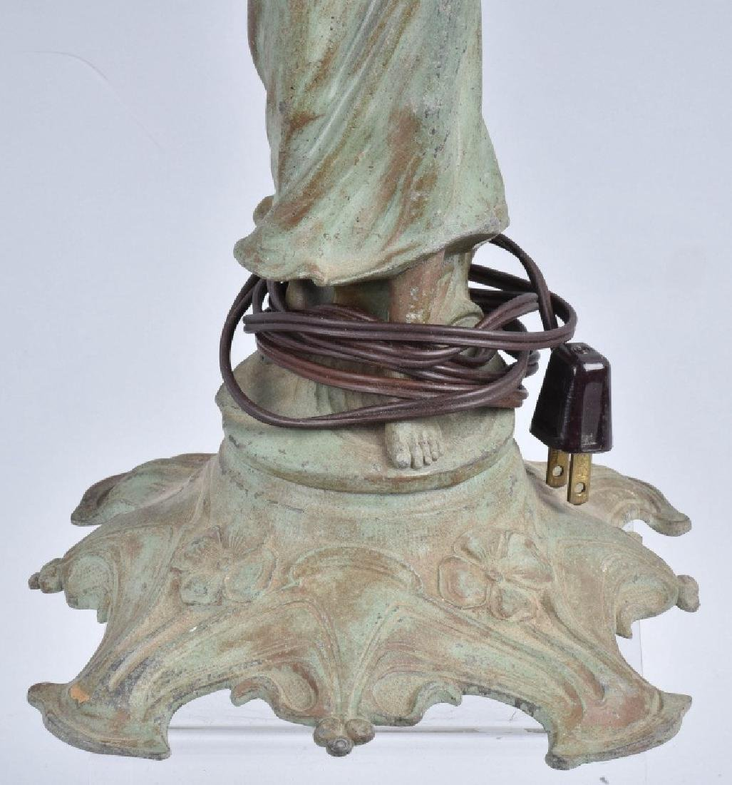 FRENCH FIGURAL LADY SPELTER LAMP - 3