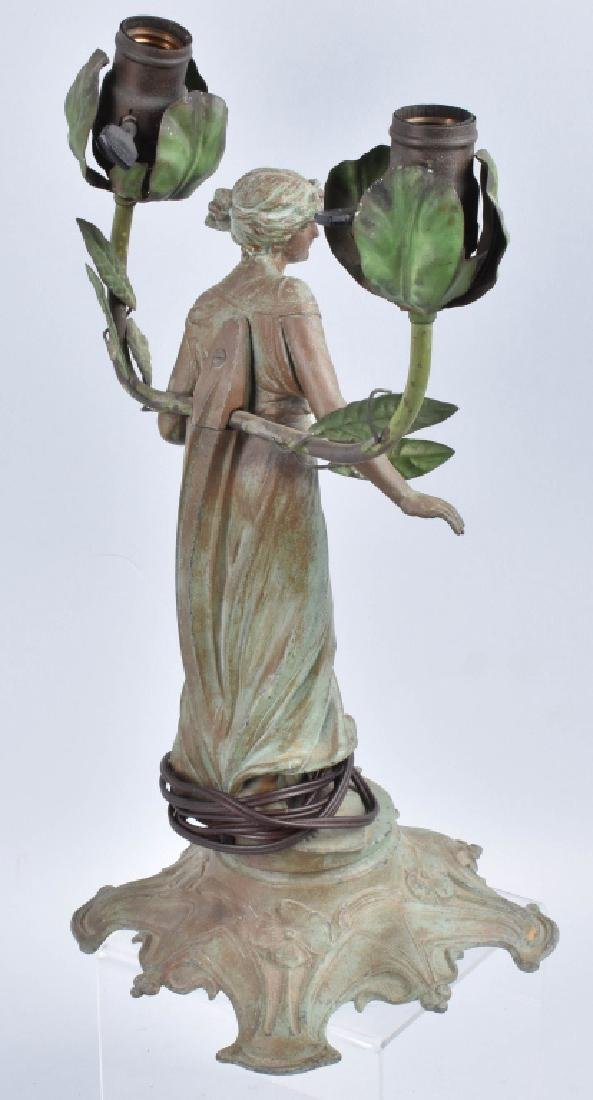 FRENCH FIGURAL LADY SPELTER LAMP - 5