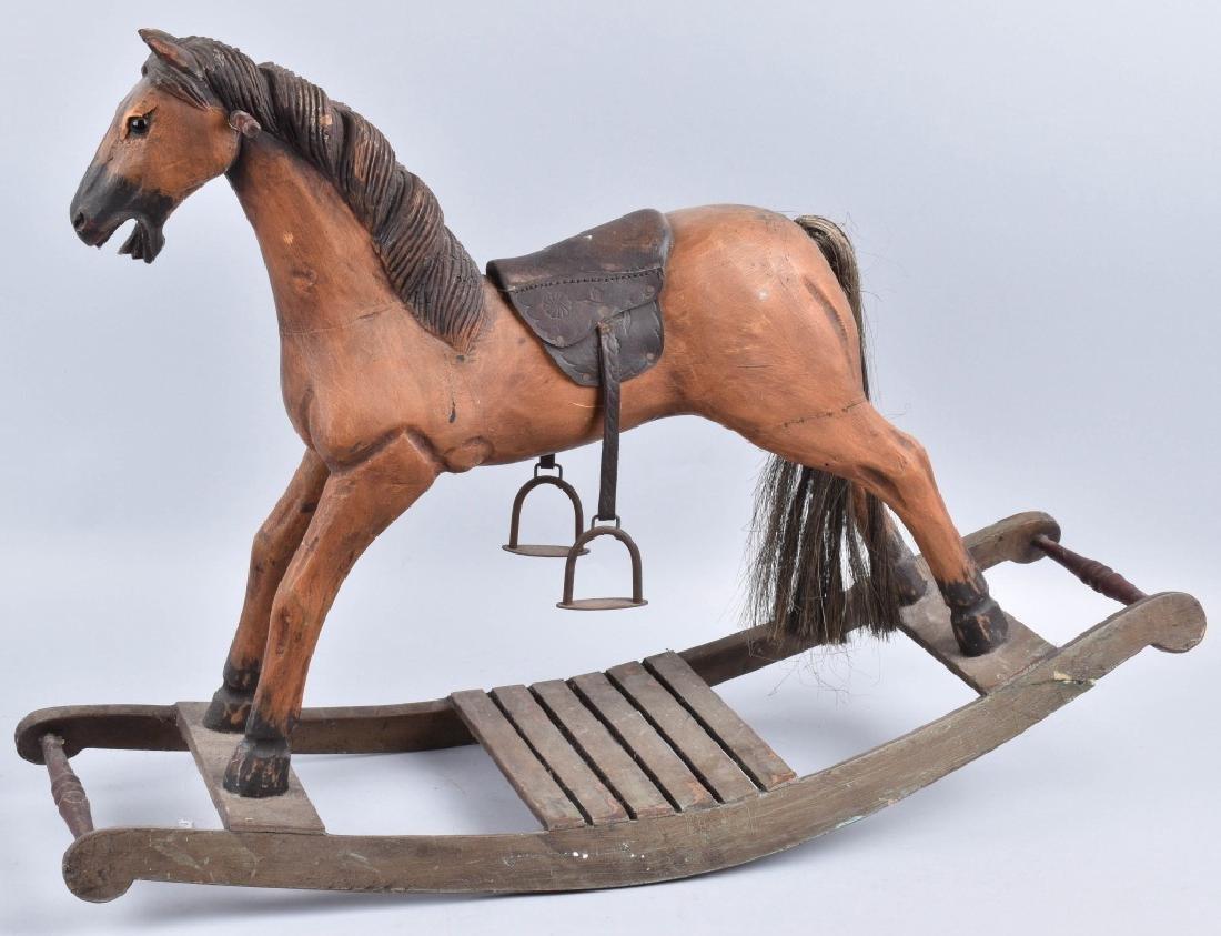 CHILD'S CARVED WOOD HORSE on ROCKER