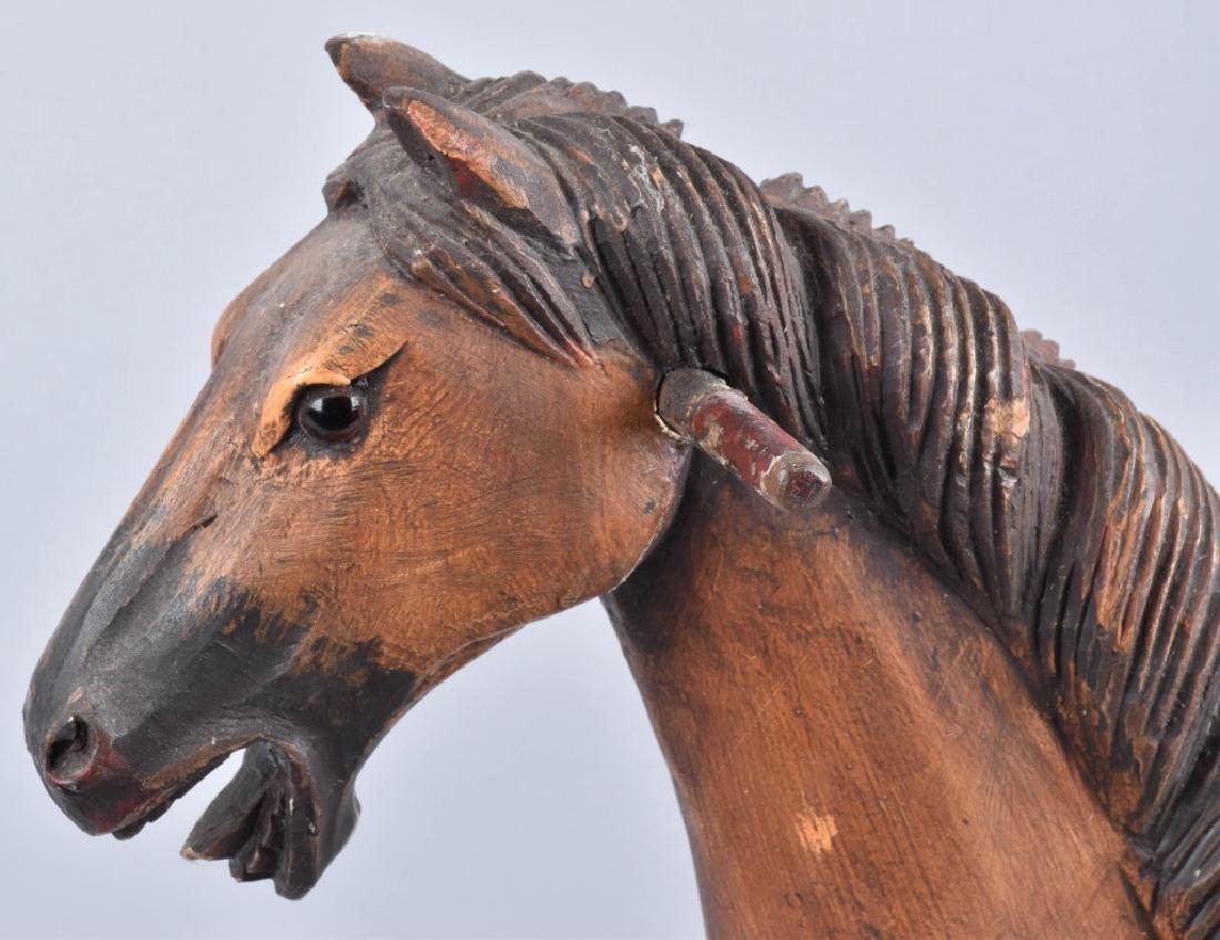 CHILD'S CARVED WOOD HORSE on ROCKER - 2