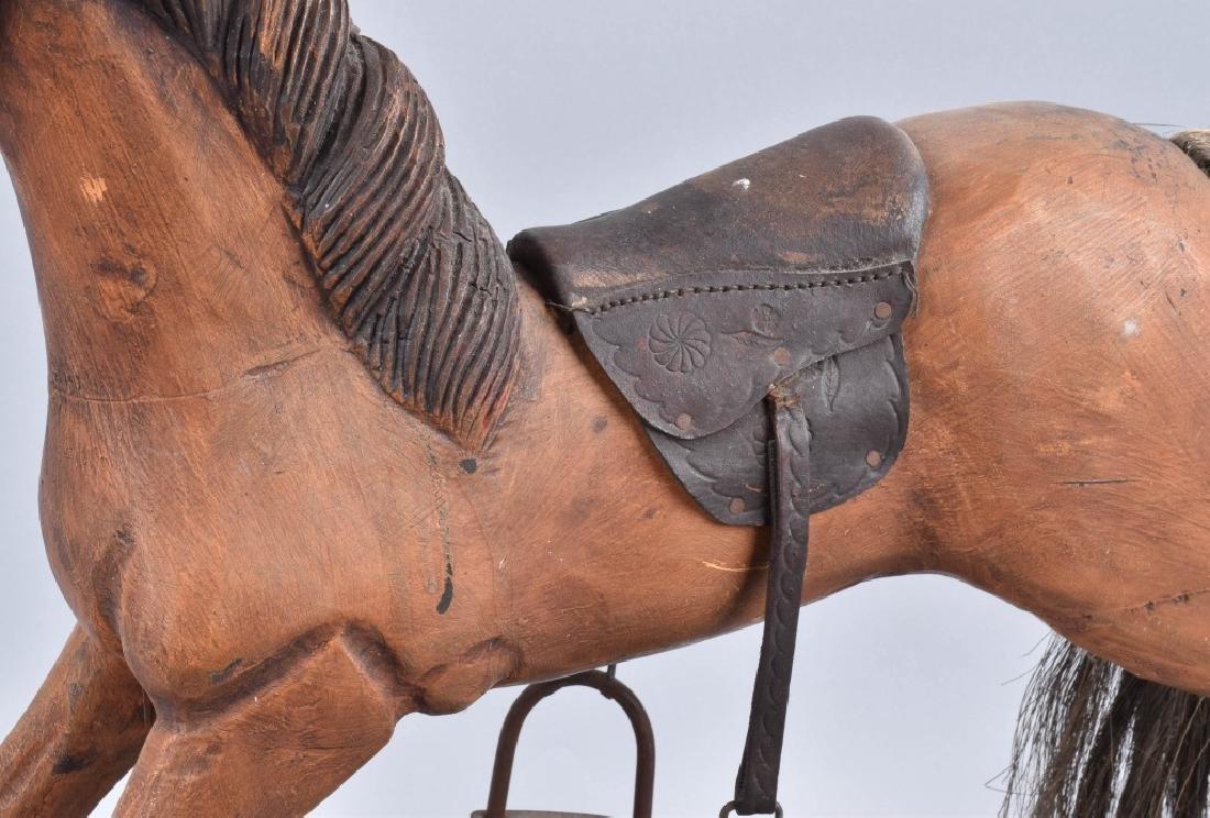 CHILD'S CARVED WOOD HORSE on ROCKER - 3