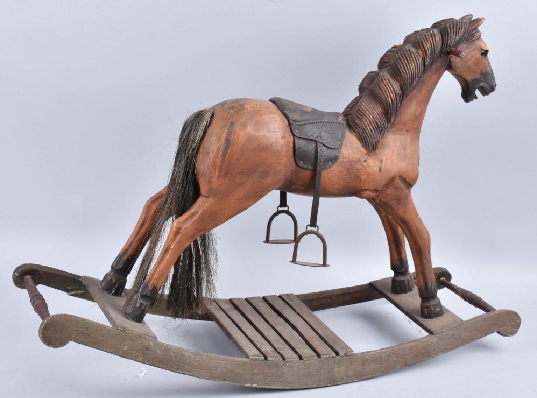 CHILD'S CARVED WOOD HORSE on ROCKER - 4