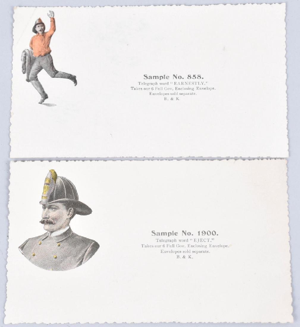 8-1890'S SALESMAN SAMPLE FIREMAN GIFT CARDS - 2