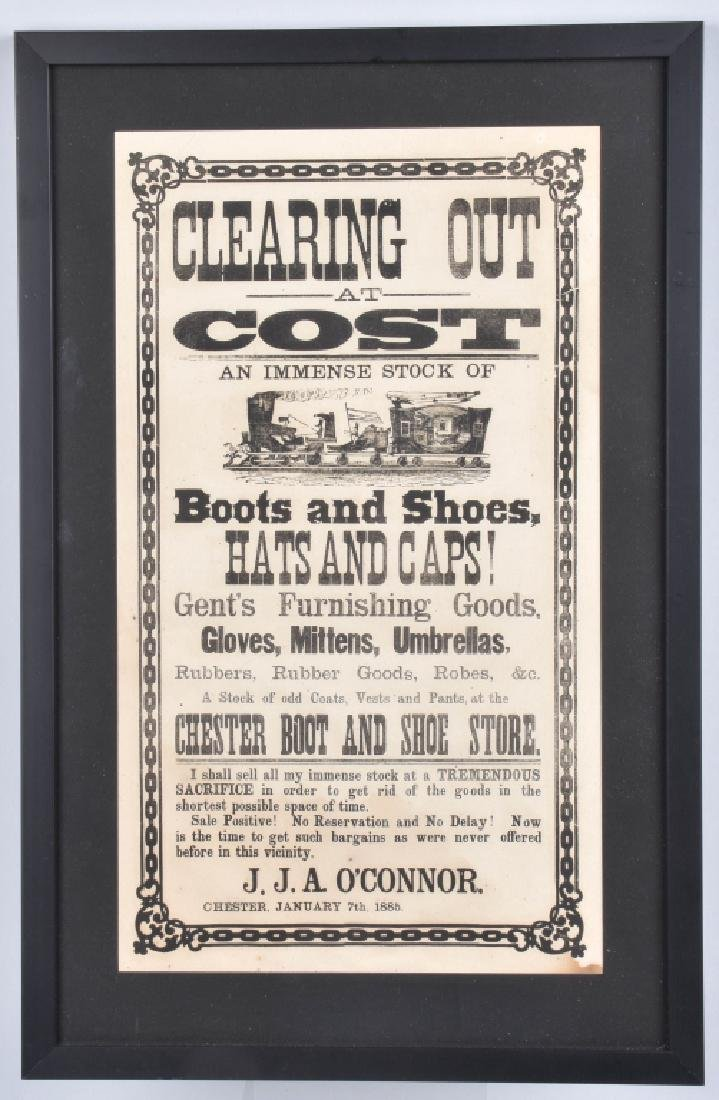 1885 CHESTER BOOT & SHOE STORE, SALE BROADSIDE