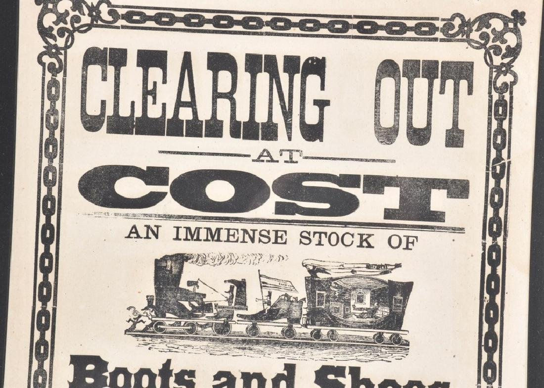 1885 CHESTER BOOT & SHOE STORE, SALE BROADSIDE - 2
