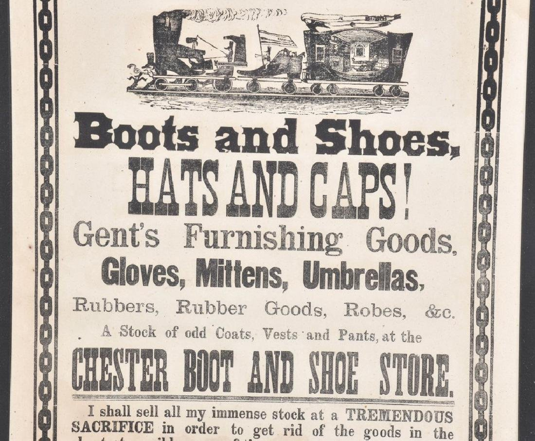 1885 CHESTER BOOT & SHOE STORE, SALE BROADSIDE - 3