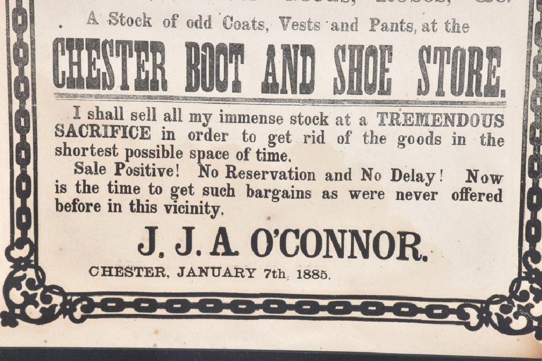 1885 CHESTER BOOT & SHOE STORE, SALE BROADSIDE - 4