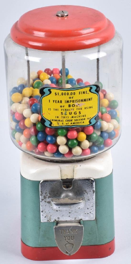 VINTAGE COIN OPERATED GUM BALL MACHINE