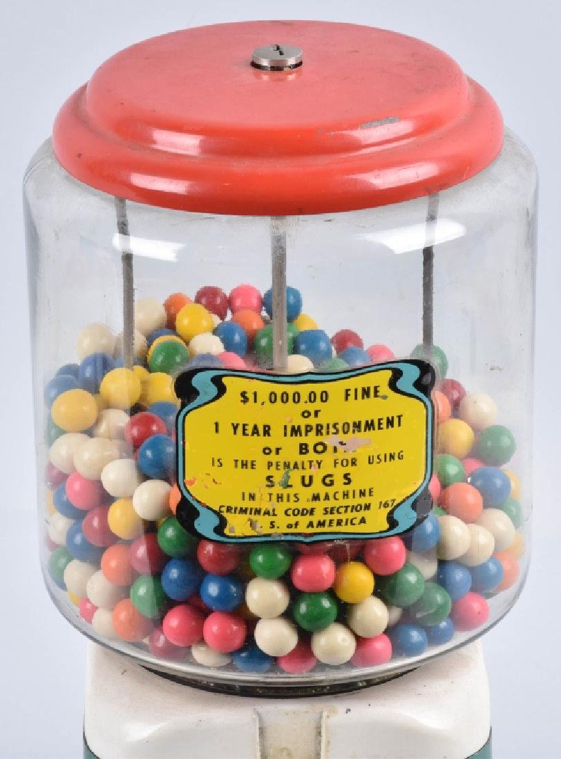VINTAGE COIN OPERATED GUM BALL MACHINE - 2