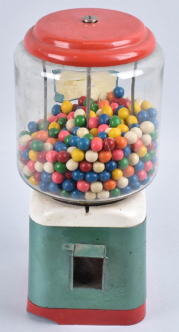 VINTAGE COIN OPERATED GUM BALL MACHINE - 4
