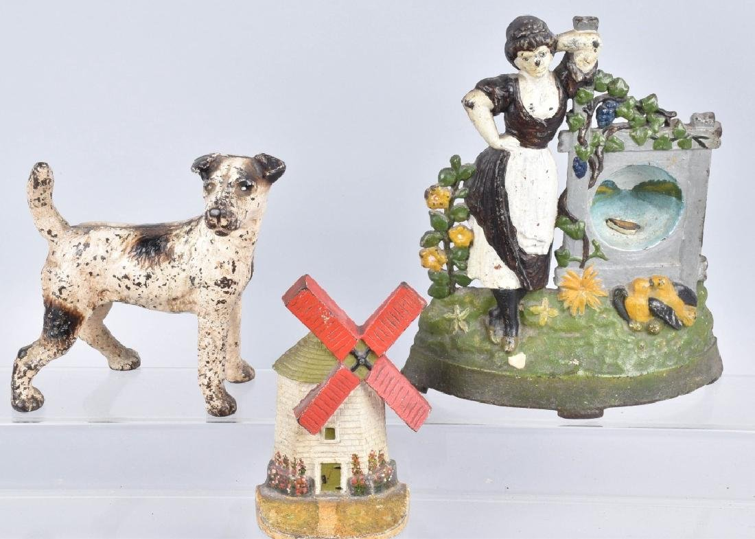 3-CAST IRON DOORSTOPS, TERRIER, WIND MILL & MORE