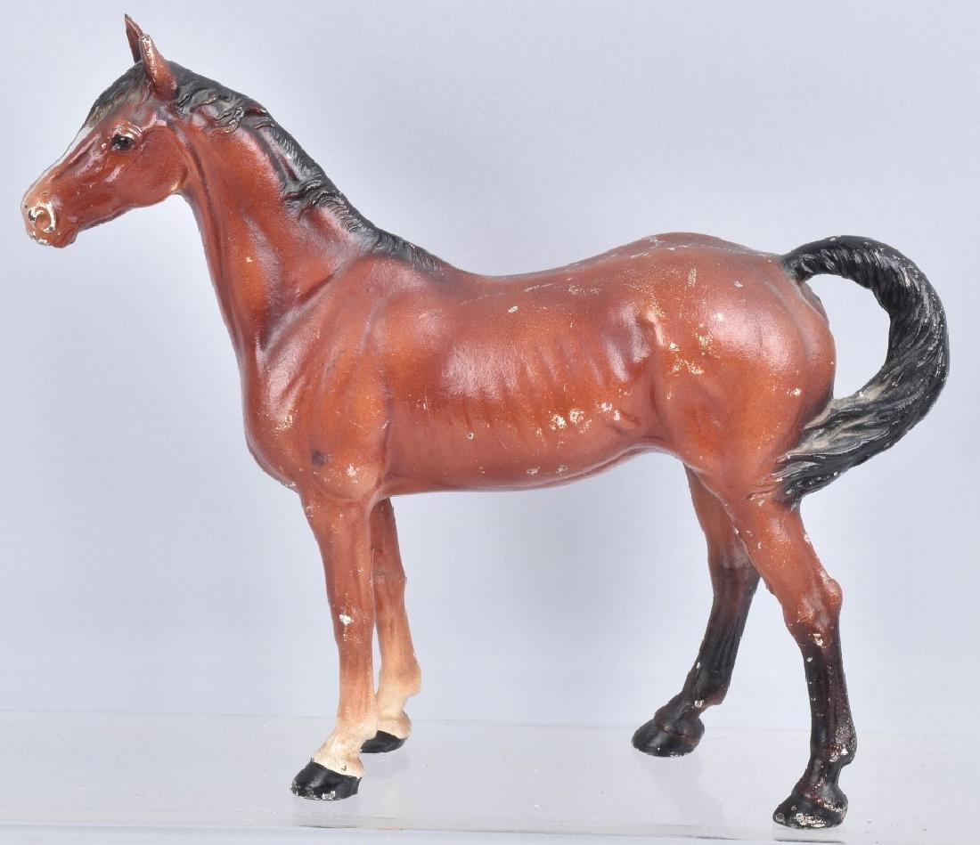 2-HUBLEY CAST IRON LARGE HORSE DOORSTOPS - 2