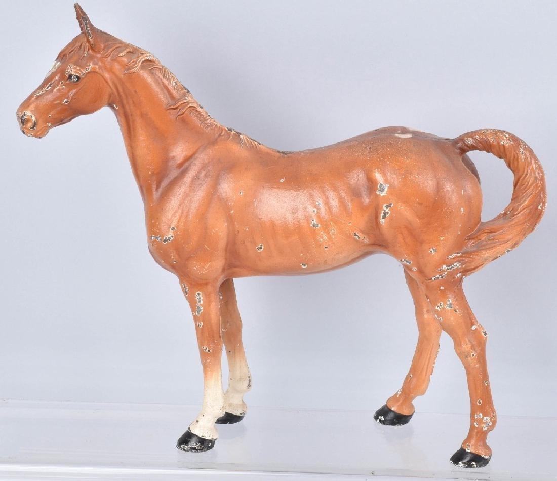 2-HUBLEY CAST IRON LARGE HORSE DOORSTOPS - 3