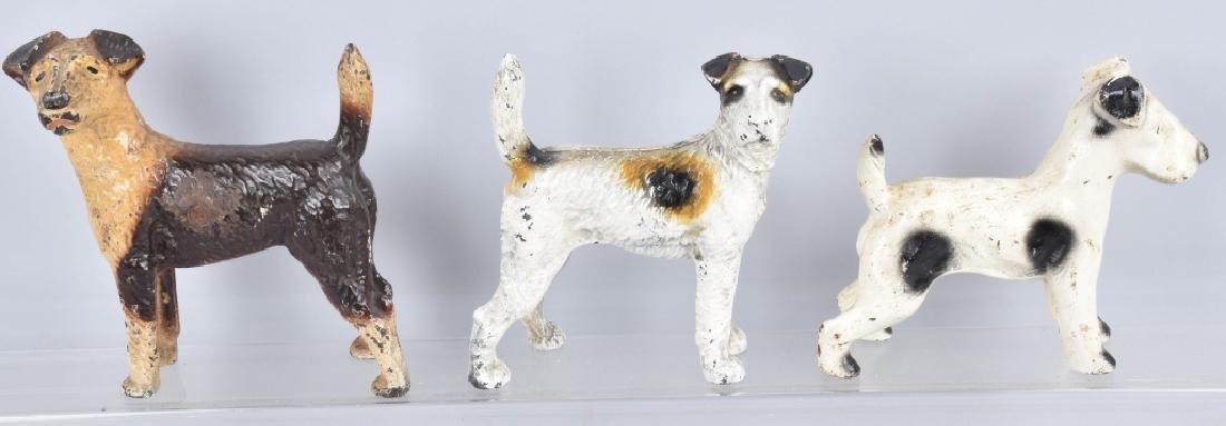 3-CAST IRON TERRIER DOG DOORSTOPS