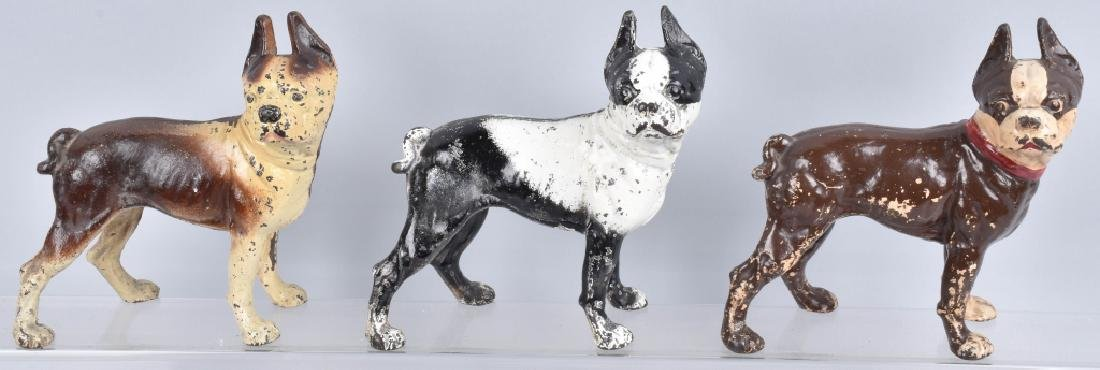 3-BOSTON TERRIER CAST IRON DOORSTOPS
